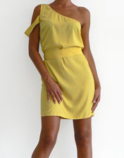 location robe jaune one shoulder
