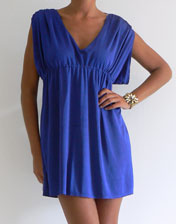 location robe tunique bleue decollete V