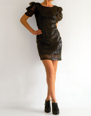 robe en sequins noirs en location