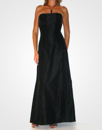 location de robe longue bustier noir en satin robe longue bustier en satin noir en location. Black Bedroom Furniture Sets. Home Design Ideas
