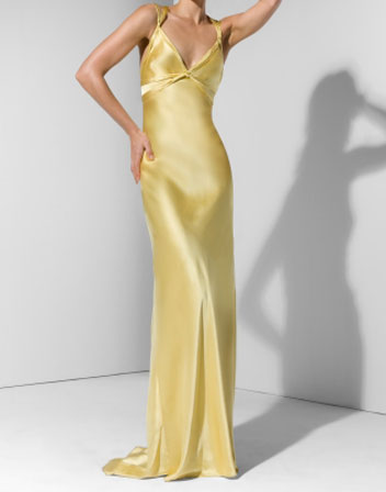 Robe de soiree jaune satin