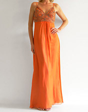 location robe longue de soiree orange