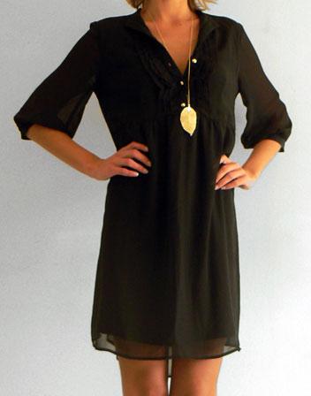 robe la mode robe noire fluide manche longue. Black Bedroom Furniture Sets. Home Design Ideas