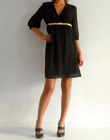 4ef8a9ef178 Robe à la mode  Robe noire fluide manche longue